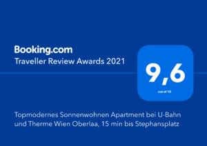 Booking.com Traveller Award 2021 Sonnenwohnen Apartment Oberlaa Garden