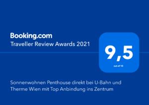 Booking.com Traveller Award 2021 Sonnenwohnen Apartment Penthouse Sky
